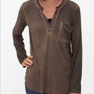 BKE red Buckle Deep Taupe Faux Suede Washed Blouse